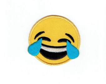 Smiley Face - Emoji - Laughing with Tears - Iron on Applique - Embroidered Patch - 697082-SA