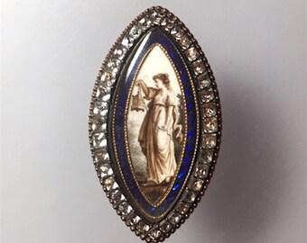 Antique Georgian Solid 18K Mourning Brooch Pendant w/Sepia Miniature & Paste Surround