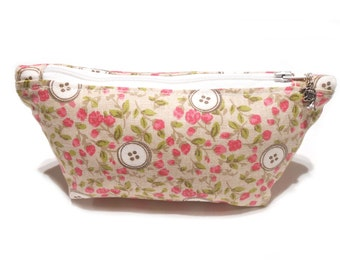 Flower Button Cosmetics Bag, Flat Pencil Case, Lined Make-up Bag, Pouch