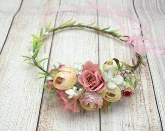 Bridal halo Wedding halo Bridal Flower crown Flower headpiece Flower hair wreath Flower headband Flower halo Hair wreath Rustic hair wreath