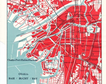 1974 Osaka Japan  Vintage Map