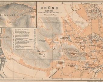 1905 Brunn Austria Antique Map