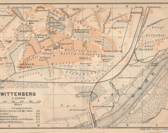 1910 Wittenberg Germany Antique Map