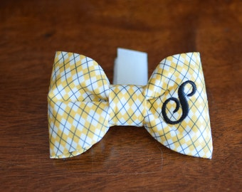 Dog Bow Tie Argyle Yellow & White || Personalized Preppy Bowtie || Custom Gift by Three Spoiled Dogs