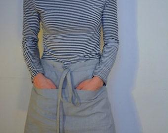 Short Half Apron in Pale Grey Linen; Bistro Apron
