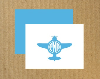 Airplane Monogram Note Cards, Set of 10, Airplane Note Cards, Airplane Monogram, Plane Note Cards, Thank You Cards, Monogram Thank You Cards