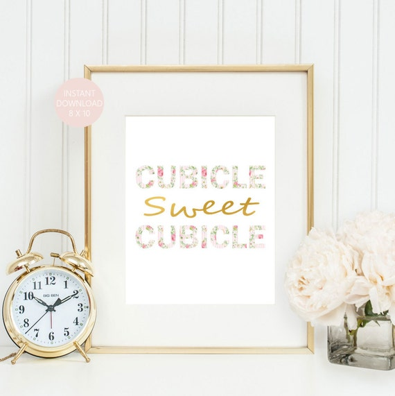 Cute Office Wall Decor : Cubicle sweet wall art cute office by printsbyphetssy