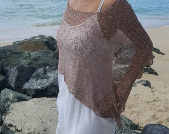 Mocha boho summer knit poncho, ethereal grunge shawl, boho hippie cover up, summer beach poncho cover up, 28 colours.