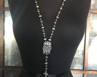 Southwestern Jewelry Rosary Necklace Navajo Jewely Navajo Pearl Necklace Silver Rosary Religous Jewelry Long Necklace Sterling Silver