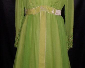 Vintage 1960's Multilayered Green Silk Dress w/ Beading 36