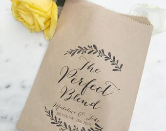Wedding Favor Bags! - The Perfect Blend - Personalized Tea Favor Bags - Custom Printed on Kraft Brown Paper Bags