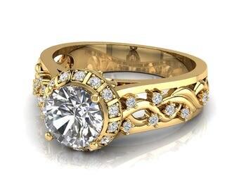 Art Deco Engagement Ring, 1ct Moissanite engagement ring, Halo Moissanite ring, engagement ring, Filigree engagement ring, 2070gag