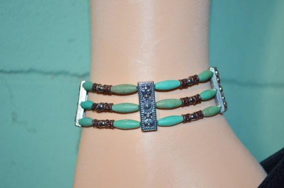 Ankle Bracelet Turquoise, 3 Strand Anklet, Beaded Anklet, Turquoise Bead Anklet, Wide Anklet