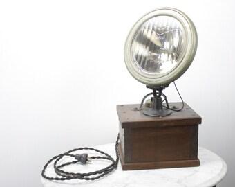 Antique Flintex Headlight Lamp - 1910's - 1920's - Upcycled Lamp - Man Cave - Automotive - Primitive Drop light - Industrial - Home Decor