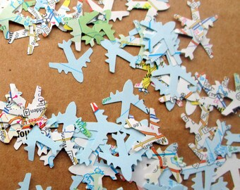 1200-Tiny-Map Airplane Confetti-Travel Theme Bridal Shower-plane confetti-Jet Plane-Airplane baby shower décor-Atlas airplane-baby shower