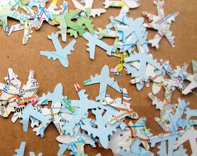 1000-Map Airplane Confetti-Travel Theme Bridal Shower-plane confetti-Jet Plane-Airplane baby shower décor-Atlas airplane-baby shower