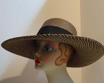 Panama Straw Hat Wide Brim Black and Tan