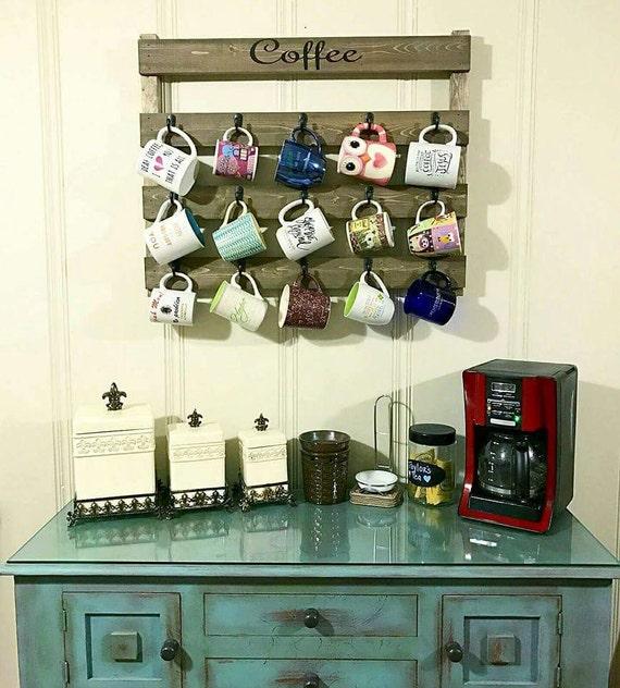 Mug Shelf Kitchen: Home Decor Coffee Cup Rack Kitchen Decor By HisHersWoodworking