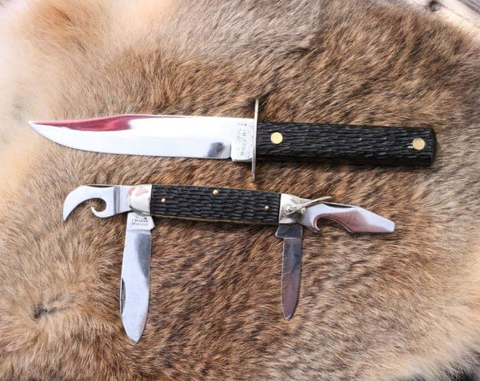Vintage Imperial fixed blade knife with matching Imperial folder