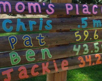 """Set of 5- """"Family"""" Customized Mileage Signs (Wood)"""