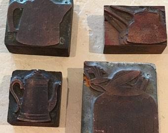 Vintage Copper Tea Pot Printing Block Letterpress A3