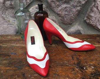 Vintage 80s Does 50s Proxy Red & White High Heeled Shoes / Spike Heel Pumps / Leather Soles / Women's Size 8