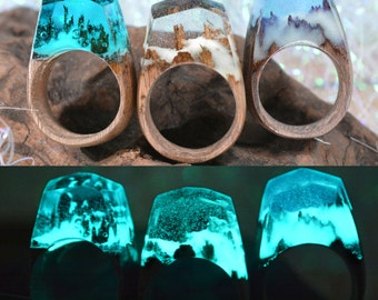 Glow in the Dark (Snow Clear) ( Handmade Wooden Resin Ring. Wood Resin Ring.  Wood jewelry. with Magnificent Tiny Fantasy Landscape )