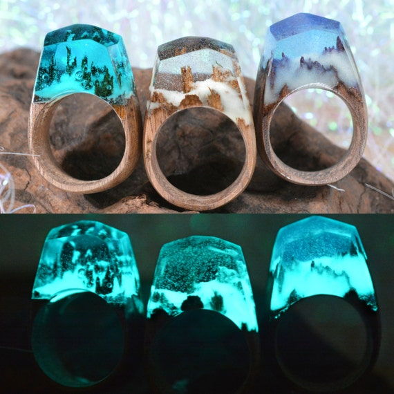 Glow in the dark snow clear handmade wooden resin ring for Glow in the dark resin