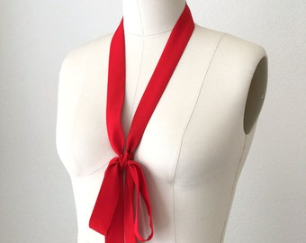 "Red silk skinny scarf is long and thin. 70"" x 1.15"" Choker scarf tie. Ladies neck tie. Bow scarf. Womens Neck Tie. Thin red sash."