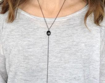 Y necklace, chain and beaded Y necklace, Silver, gun metal or gold Y necklace, black Y necklace