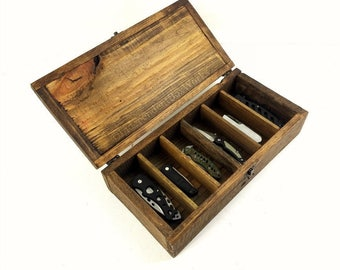 Built on Order: Pocket Knife Storage Case, Divided Wooden Box with 6 Sections, Reclaimed Wood Gift Box, Rustic Engraved Gift, Collection Box