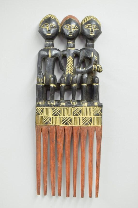 African Comb Large Ashanti Female Wood Hair Comb Ghana Handmade Wood Presitge Status Beauty Comb