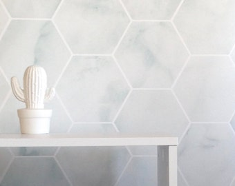 Removable Wallpaper, Marble wallpaper, hexagon, geometric wallpaper, wallpaper, Peel and stick wallpaper, self adhesive wallpaper