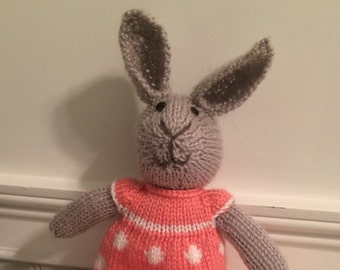 "Knitted Stuffed ""Brenda"" The Bunny"