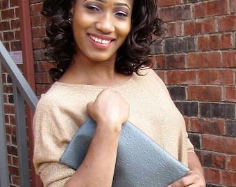 Grey Faux Ostrich Clutch, Handbag, Evening Bag, Casual bag, Foldover Clutch, Versatile, modern, Large, small