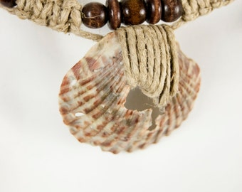 CLEARANCE! - All Natural Handmade Thick Hemp and Seashell Necklace with Wooden Beads