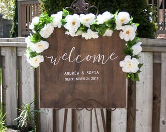 Rustic Wood Wedding Welcome Sign- Welcome to the Wedding Sign- Wooden Welcome Sign