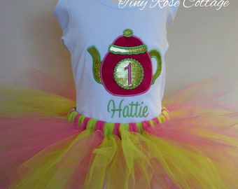 Tea party. Teapot Birthday Outfit. Birthday Shirt/Body Suit with Tutu