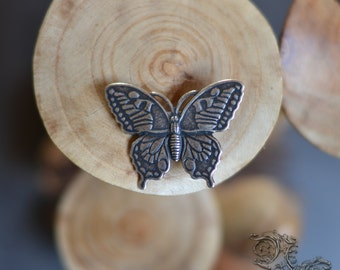 "Barrette ""Butterfly of the White Forest"" - silver version"