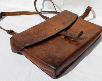 Vintage Swiss Army Officers' Leather Bag / Map Bag / Messenger Bag / Shoulder Bag from 1955