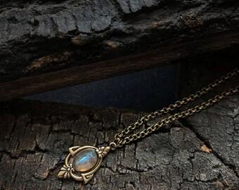 Aria - Antique Gold Labradorite Necklace, Labradorite Necklace, Labradorite Choker, Vintage Labradorite Necklace, Labradorite Pendant