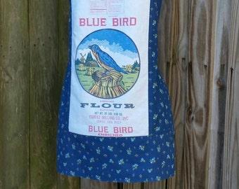Blue Bird Flour Sack Apron