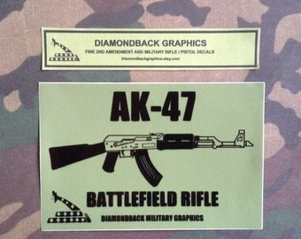"AK-47 rifle vinyl decal (4"" x 6"" olive drab and black)"