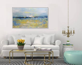 Abstract Art Large Wall Canvas Abstract Seascape, Yellow Blue Original Art Painting Canvas Blue Art Textured Painting Large Art Christovart