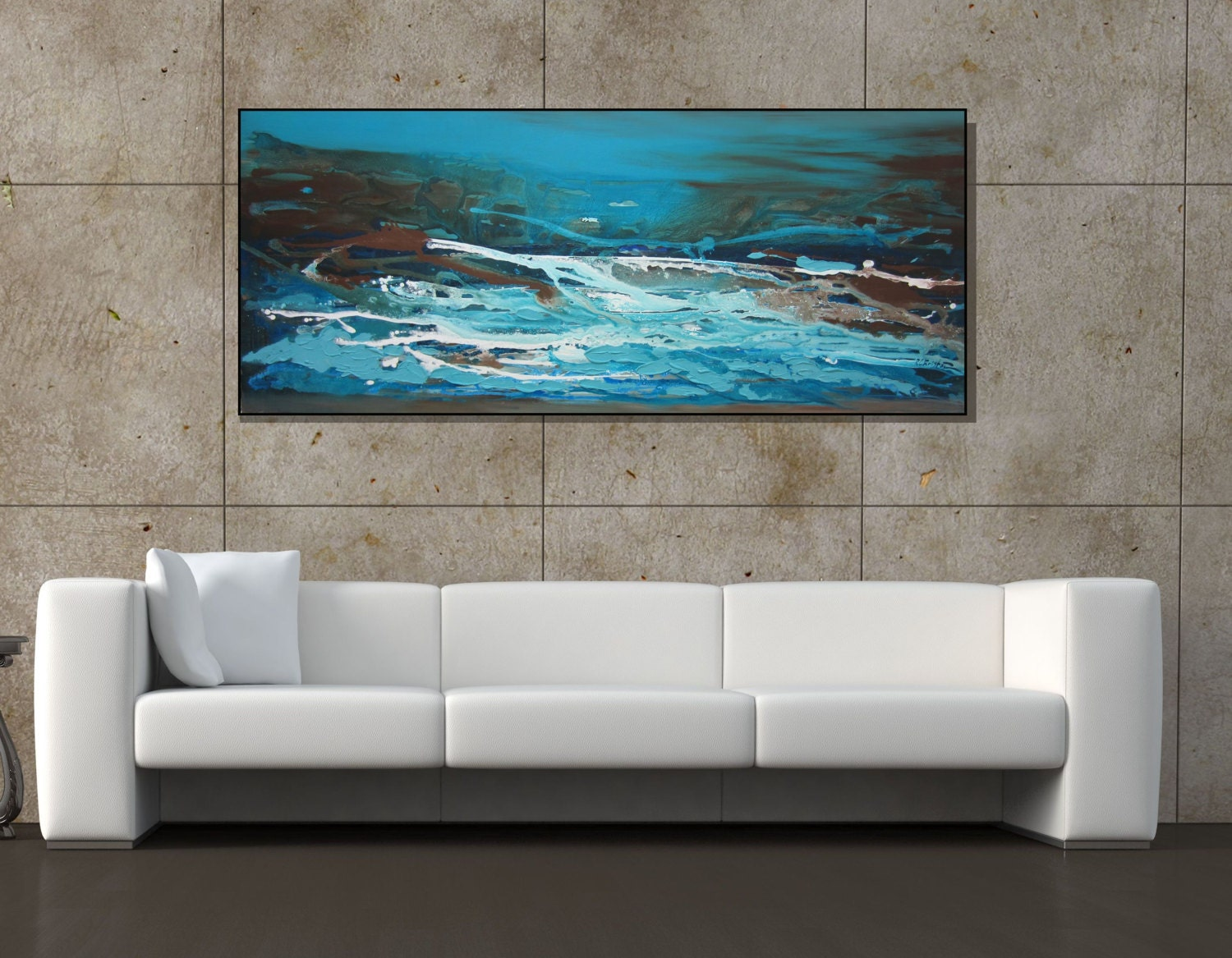 sale extra large painting blue wall art teal canvas art. Black Bedroom Furniture Sets. Home Design Ideas