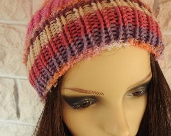 Handmade Woman's Pink Muticoloured Pompom hat - Free Shipping