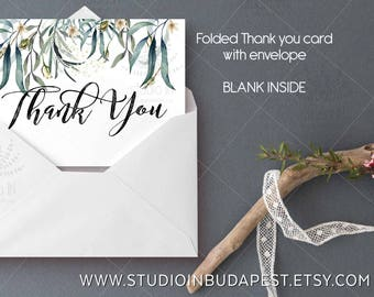 Thank You Card, Green Thank You note card, wedding stationery, foliage thank you card, wedding Thank you card, set of 10 thank you card,