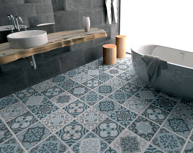 Bathroom vinyl tile