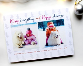 Holiday Card with Photos - 5x7 - Merry Everything and Happy Always - Tree Stamp - Printable and Personalized