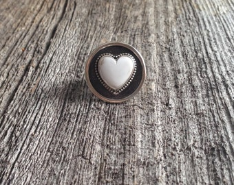 White Buffalo Turquoise Ring - Heart Ring - Love Ring